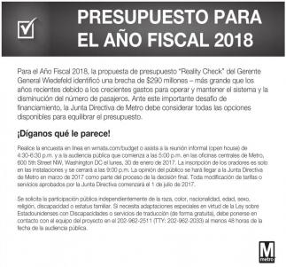 Presupuesto para el Año Fiscal 2018