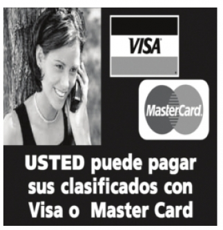 Ud. puede Pagar sus Clasificados con Visa o Master Card