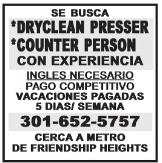 DryClean Presser / Counter Person
