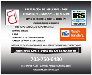 Preparación De Impuestos - 2016