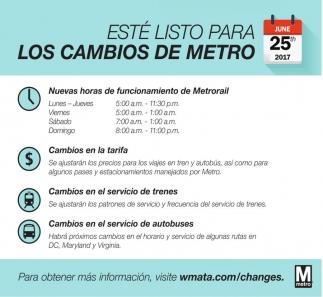 Este listo para los Cambios de Metro