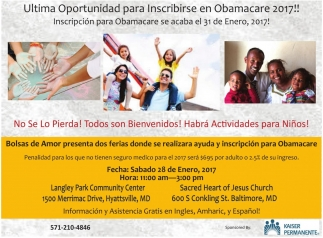Última Oportunidad para Inscribirse en Obamacare 2017!!