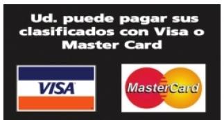 Ud. puede Pagar sus Clasificados con Via o Master Card