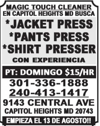 Pressers / Delivery Person