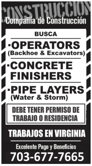 Operators / Concrete Finishers / Pipe Layers