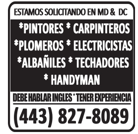Estamos Solicitando En MD Y DC