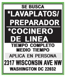 Preparador / Lavaplatos