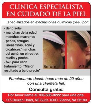 Clinica Especialista en Cuidados de la Piel