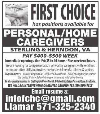 Personal / Home Caregivers