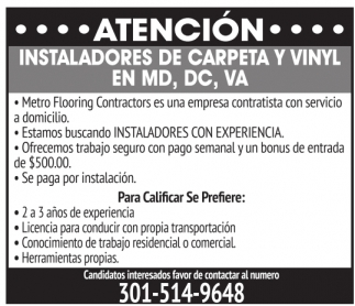 Instaladores De Carpeta Y Vinyl