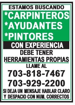 Carpinteros / Ayudantes / Pintores