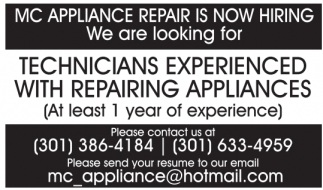 MC Appliance Repair Is Now Hiring