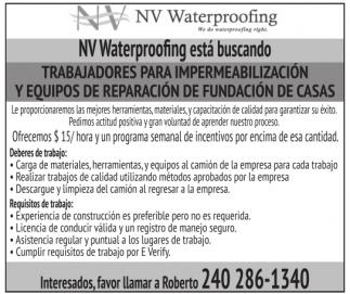 NV Waterproofing esta buscando