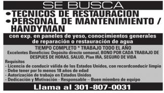 Tecnicos De Restauracion / Personal De Mantenimiento