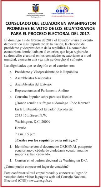 Voto de los Ecuatorianos para el proceso electoral del 2017
