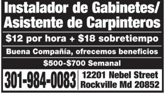 Instalador de Gabinetes/Asistente de Carpinteros