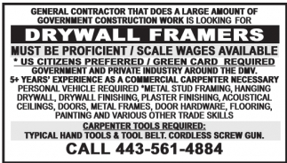 Obreros de Carpintería / Drywall / Colgadores